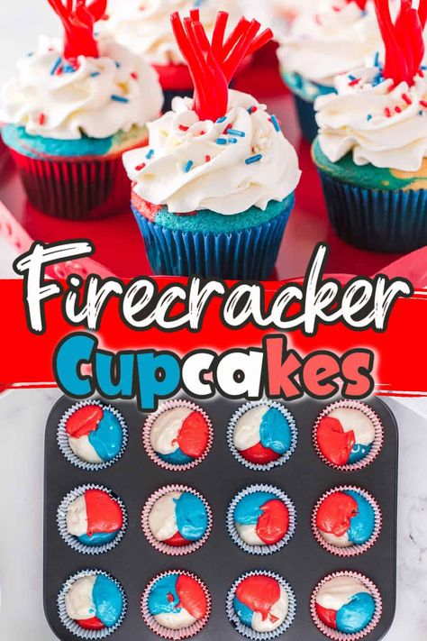 Add these super fun Firecracker Cupcakes to the celebratory Fourth of July spread this summer! These easy cupcakes are festive red, white, and blue 4th of July desserts that are perfect for potlucks and holiday gatherings.