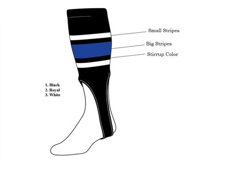 "TCK Baseball Softball Fastpitch Stirrups Socks Stripes Team Quantity Avail 7/"""
