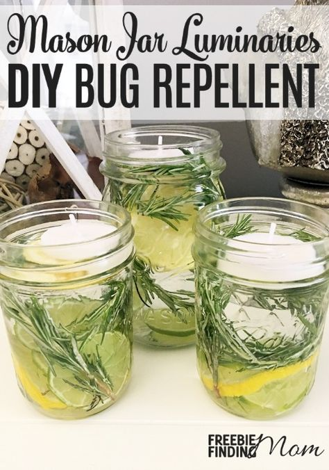 Mason Jar Luminaries: Homemade Bug Repellent - Great for summer!