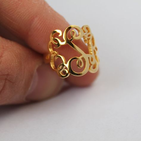Perfect gift for bridesmaids! Handmade Monogram Ring Three Initial by JewelryGiftsDesign on Etsy, $33.99