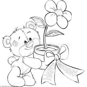 Free Download Teddy Bear And Flower Coloring Pages Coloring Coloringbook Coloringpages Bear Coloring Pages Flower Coloring Pages Teddy Bear Coloring Pages
