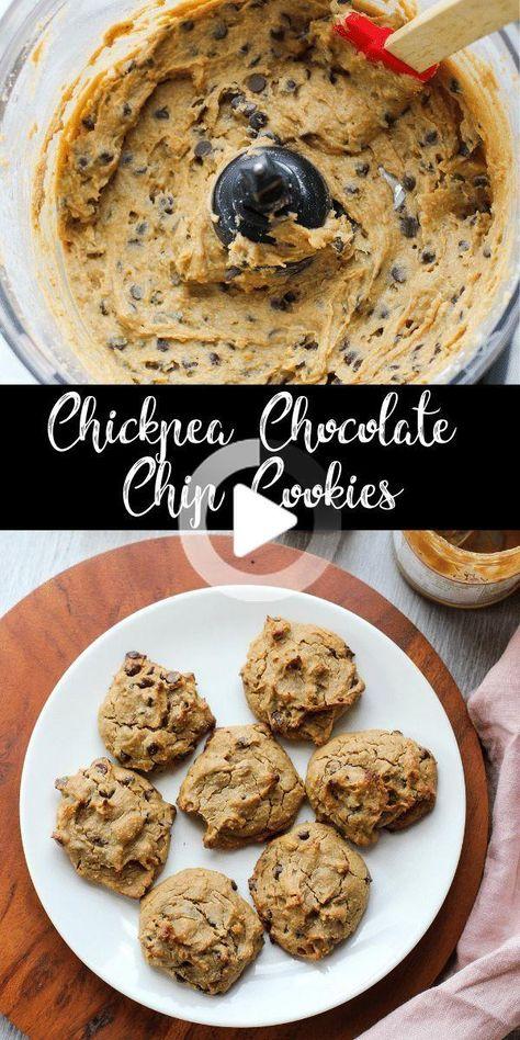 Diese Kichererbse Chocolate Chip Cookies sind weich und flauschig mit genau der richtigen Menge an Süße. Niemand wird jemals diese Cookies erraten sind mit Kichererbsebohnen statt Mehl! #gesunderezepte