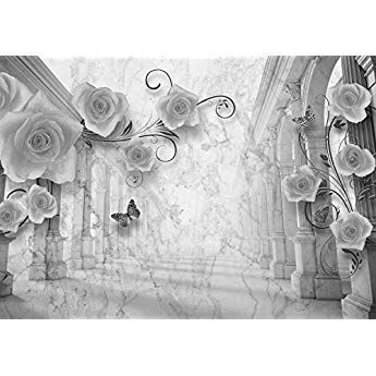 Wandmotiv24 Fototapete Schwarz Weiss Rosen Antik Saulen Blumen Gold Tuch Seide Vintage M1251 M 250 X 175 Cm 5 Teile Wand Fototapete Tapete Wohnzimmer Tapeten