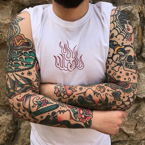 Pin De Mariano Lima Em Sleeves Traditional Tattoo Tatuagem Tatuagem Old School Tatuagem Tradicional
