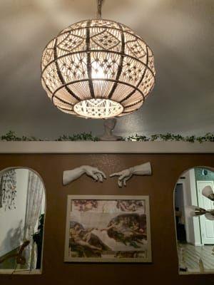 Ivory Macrame Sphere Pendant Lamp Pendant Lamp Lamp Spheres
