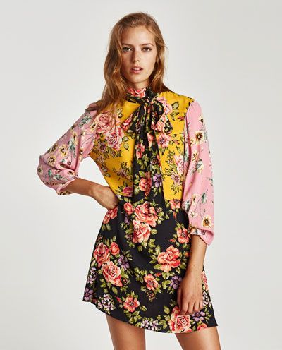 Image 4 Of Floral Patchwork Dress From Zara In 2020 Patchwork Dress Mini Dress Patchwork Dress Pattern