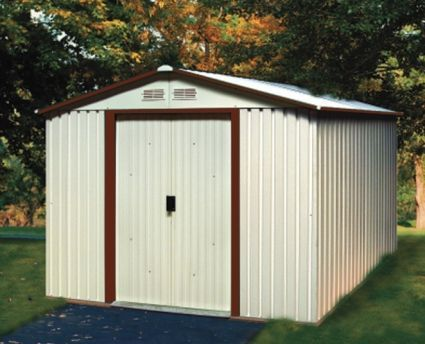 Duramax 10x12 Del Mar Colossus Metal Shed Foundation Brown Trim Duramax Sheds Small Shed Plans Shed
