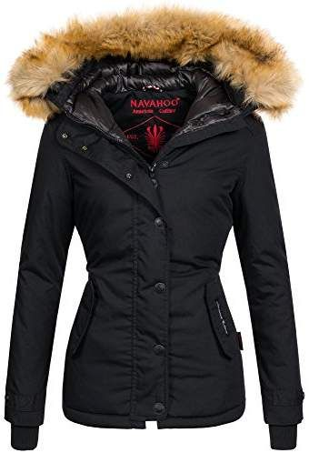 Damen Parka Winterjacke Kunstleder Designer Fashion Jacke Winter warm Kunstfell
