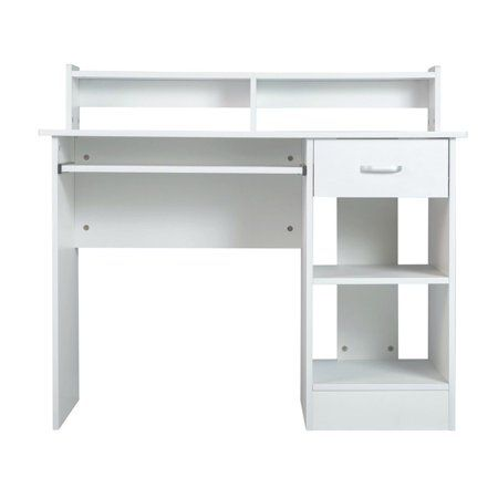 White Computer Desk Small Office Desk Work Table With Keyboard Tray And Drawer Walmart Com White Computer Desk Small Office Desk Small Desk