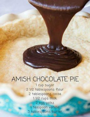 Straight from grandma& kitchen, Yoder& Amish Chocolate Pie is smooth, silky, and practically melts in your mouth. Each slice is satisfying without being overly rich. We love topping it with gobs of whipped cream and sprinkling with chocolate shavings. Köstliche Desserts, Delicious Desserts, Dessert Recipes, Yummy Food, Plated Desserts, Dutch Desserts, Chocolate Pie Recipes, Chocolate Pies, Chocolate Pie Filling