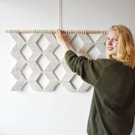Macrame wall hanging large geometric wall decor art   Etsy