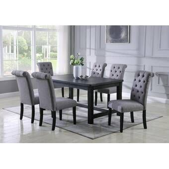 Motta 5 Piece Solid Wood Dining Set Solid Wood Dining Set Black Dining Room Dining Set