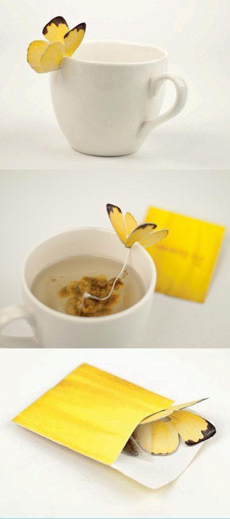 Esta perfecta bolsita de té con forma de mariposa.