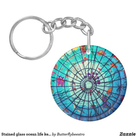 Stained glass ocean life keychain #oceankeychain #stainedglasskeychain #topicalkeychain #fishkeychain #butterflybeestro