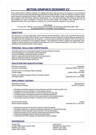 Image Result For Motion Graphic Designer Resume Sample Graphic Design Resume Resume Design Cv Design