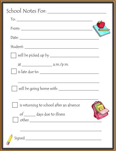 not to the teacher printable For the Kids Pinterest Teacher - absence note