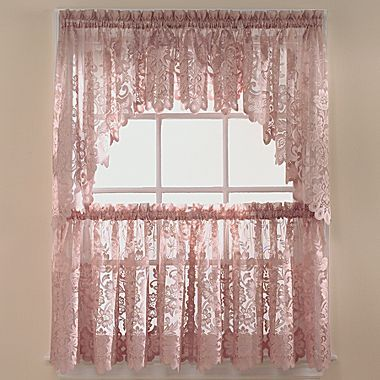 Jcp Home Shari Lace Rod Pocket Window Tiers Jcpenney In Linen