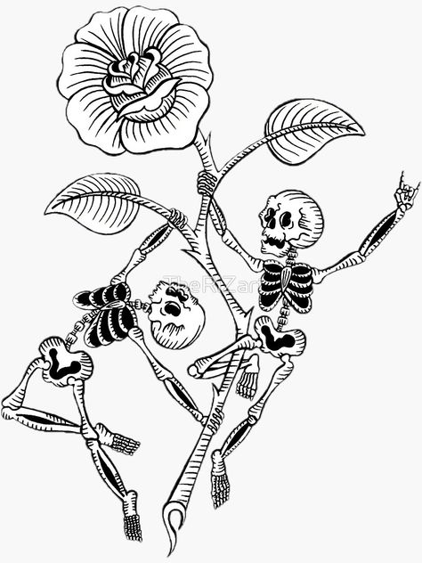 Traditional skeletons pole dancing on a traditional rose with thorns – keeping this black and white with the fine line tattoo style. Skeleton Tattoos, Skeleton Art, Middle Finger Tattoos, Tattoo Flash Art, Dope Tattoos, Fine Line Tattoos, Nordic Tattoo, Pole Dancing, Traditional Tattoo
