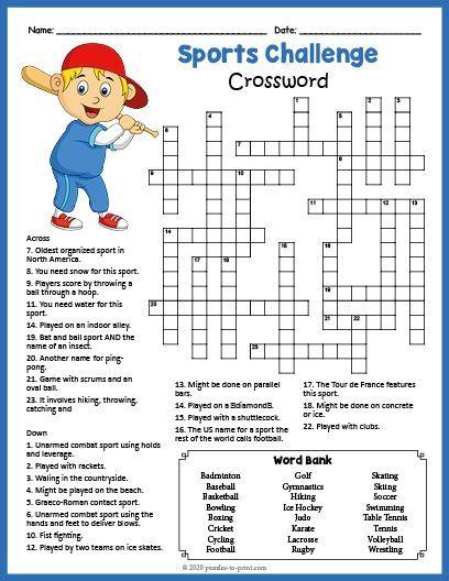 Free Printable Sports Crossword Sudoku Braingames Brainteasers Crosswordpuzzles Cro In 2020 Sports Crossword Free Printable Puzzles Printable Crossword Puzzles