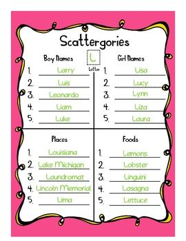 Scattergories is a good method to reviewing new words or vocabulary words.  At the end of a unit, semester, or year (or at the beginning to review last year's words) choose a topic (such as food, places, transportation, sports) and a letter (for example s) and have the students raise against the clock to see how many they can list.  **This website has some scattergories cards prepared.