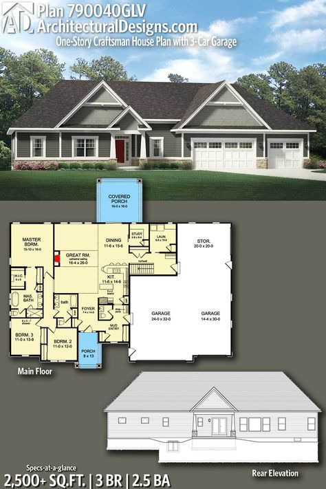 Plan 790040glv One Story Craftsman House Plan With 3 Car Garage Craftsman House Plans Craftsman Style House Plans Ranch House Plans