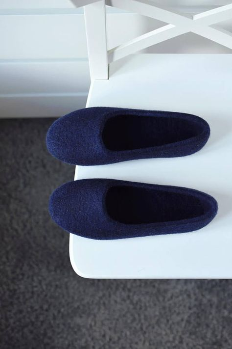 Navy Felt Slippers For Women Hand Dyed Wool Slippers Felted