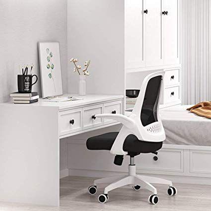 Hbada Fauteuil De Bureau Avec Accoudoirs Pliables Chaise En Maille Respirable Et Confortable Hauteur Reglable Blanc Noir Moderne Furniture Home Home Decor