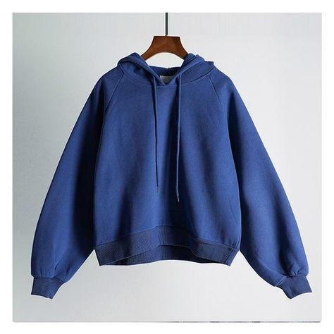 Shellsuning Basic Cropped Top Hoodies Women O Neck Casual Fleece Warm Sweatshirts Simple Pullovers Loose Cotton Jumper Female - Blue / M