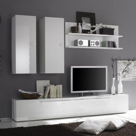 Set Mobila Living Modern Alb Negru 6 Corpuri Din Pal, Living Moderna | Idei  Amenajare Dormitor | Pinterest | Modern