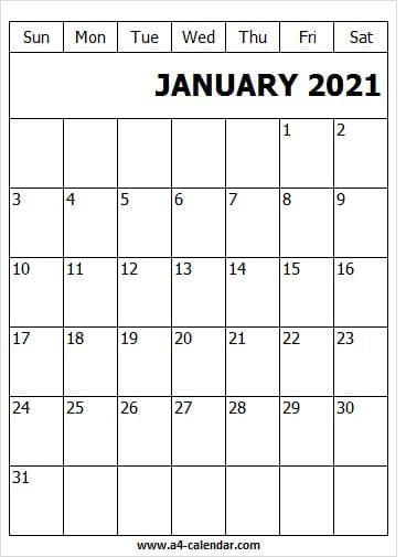 January 2021 Calendar A4 Template Editable Calendar Template In 2021 A4 Template 2021 Calendar January 2021 Calendar