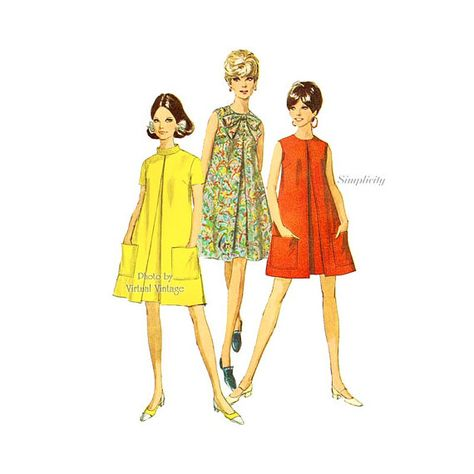 1960s Tent Dress Pattern Butterick 4601 Easy by VirtualVintage   Vintage sewing patterns and Vintage illustrations   Pinterest   Tent dress Dress patterns ...  sc 1 st  Pinterest & 1960s Tent Dress Pattern Butterick 4601 Easy by VirtualVintage ...