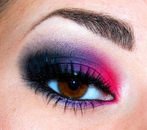 A hot pink and purple eye look from Johanna W.