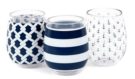 Set of 3 Nautical Shatterproof Stemless Wine Glasses   OceanStyles.com