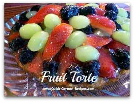 German Fruit Torte -- luscious fruit tops this German cake. http://www.quick-german-recipes.com/fruit-torte-recipe.html