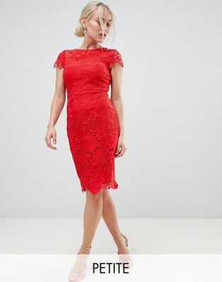 Paper Dolls Petite Cap Sleeve Crochet Lace Pencil Dress In Red Lace Bodycon Midi Dress Red Lace Dress Maxi Dress Prom