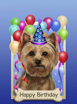 Happy Birthday Yorkshire Terrier Puppy Postcard Happy Birthday Images Animal Yorkies Happy Birthday Illustration Happy Birthday Images Birthday Images