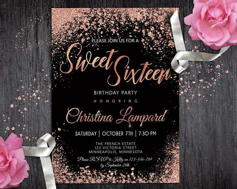 Sweet 16 Invitation Rose Gold Black Birthday For