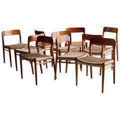 Niels Otto Moller Dining Chairs Set Of Ten Model 75 Jl Moller Mobelfabrik Danish Dining Room Chairs Leather Dining Room Chairs Vintage Dining Room