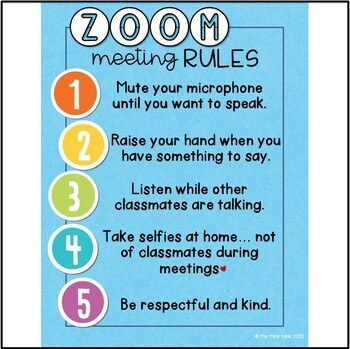 Zoom Video Meeting Rules Signs Distance By The Think Tank Teachers Pay Teachers Distance Learning Digital Learning Teaching Technology