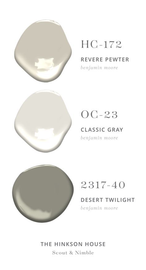ON THE CABINETS:   Revere Pewter by Benjamin Moore  |  ON THE WALLS:   Classic Gray by Benjamin Moore  |  FOR THE MUDROOM:   Desert Twilight by Benjamin Moore