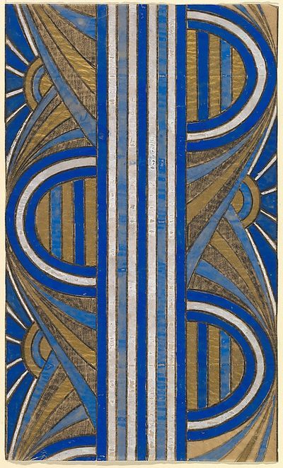 Panel with a Pattern of Sunrises and a Central Blue and White Striped Band, from a group of 158 textile designs from an unidentified French designer. The designs include brightly colored patterns and single motifs in late Art Nouveau and Art Deco sty