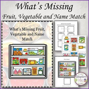 What S Missing Binder Fruit Vegetable And Name Match Baking Ingredients How To Memorize Things Matching Skills