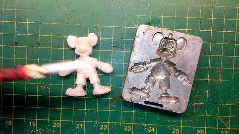 I make this Mickey Mouse magnet using HDPE (A Milk jug) and a creepy crawler mold.