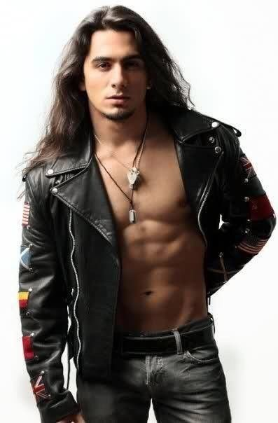 Leatherpimp Black Babhomet Hot Leather Guy Long Hair Styles Men Leather Jacket Men Mens Outfits