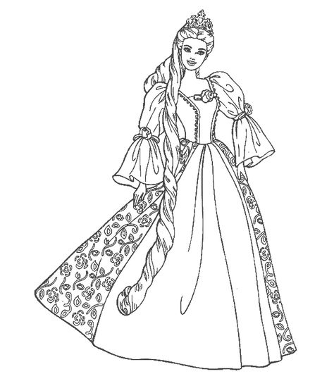 Barbie Doll And Dress Colouring Pages Clip Art Barbie Coloring