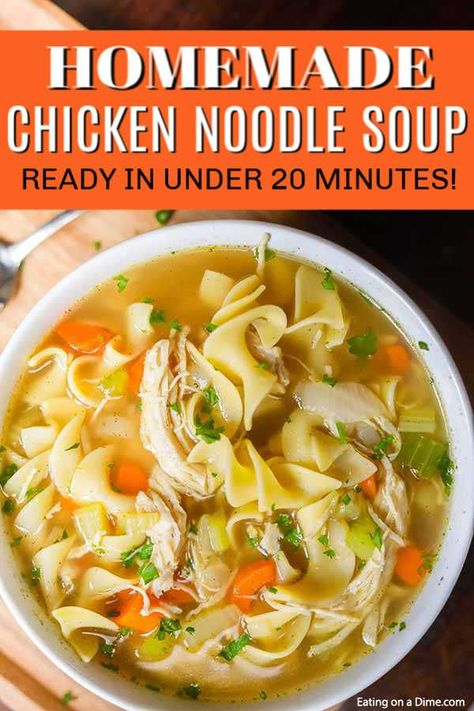 You can enjoy this homemade chicken noodle soup recipe in just 20 minutes. If you crave soup, this is the best homemade chicken noodle soup cooked on the stove. This simple, healthy recipe for chicken noodle soup is perfect for cold weather and colds. Easy Homemade Chicken Noodle Soup Recipe, Crockpot Chicken Noodle Soup, Chicken Soup Recipes, Homemade Soup, Simple Chicken Noodle Soup, Easy Chicken Caldo Recipe, Chicke Noodle Soup, Homemade Chicken Vegetable Soup, Healthy Chicken Soup