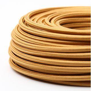 Textilkabel Stoffkabel Gold 3 Adrig 3x1 0 Mit Stahlseil Zur Zugentlastung Textilkabel Stahlseil Seil