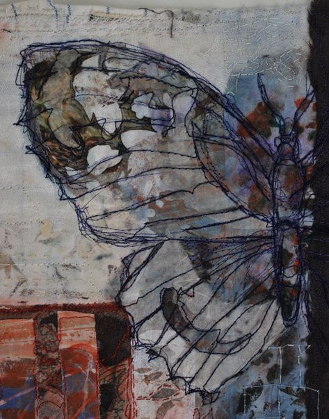Cas Holmes The multi media artist builds up layers of papers and fabrics. Over t… Cas Holmes The multi media artist builds up layers of papers and fabrics. Over this she will stitch line drawings to bring the composition together.