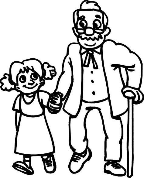 Walking With Oldies Helping Others Coloring Pages Coloring Sky People Coloring Pages Cartoon Drawings Of People Cartoon Drawings Sketches