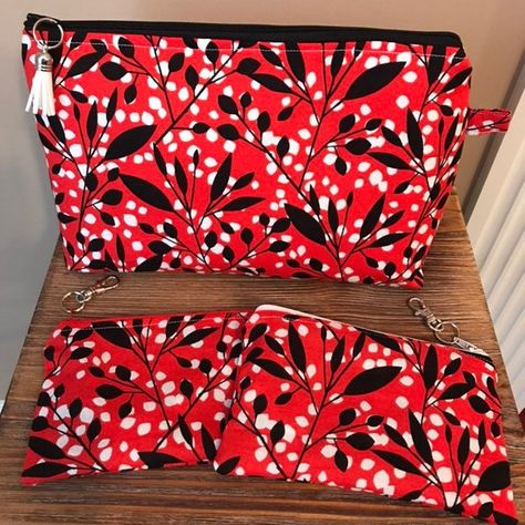 156e784d5b Red and Black Makeup Bag Set  Stand Up Makeup Bag  Gifts for Her  Cosmetic  Bags  Travel Accessories